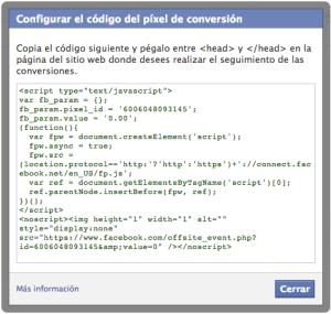 Codigo de Conversion de Facebook
